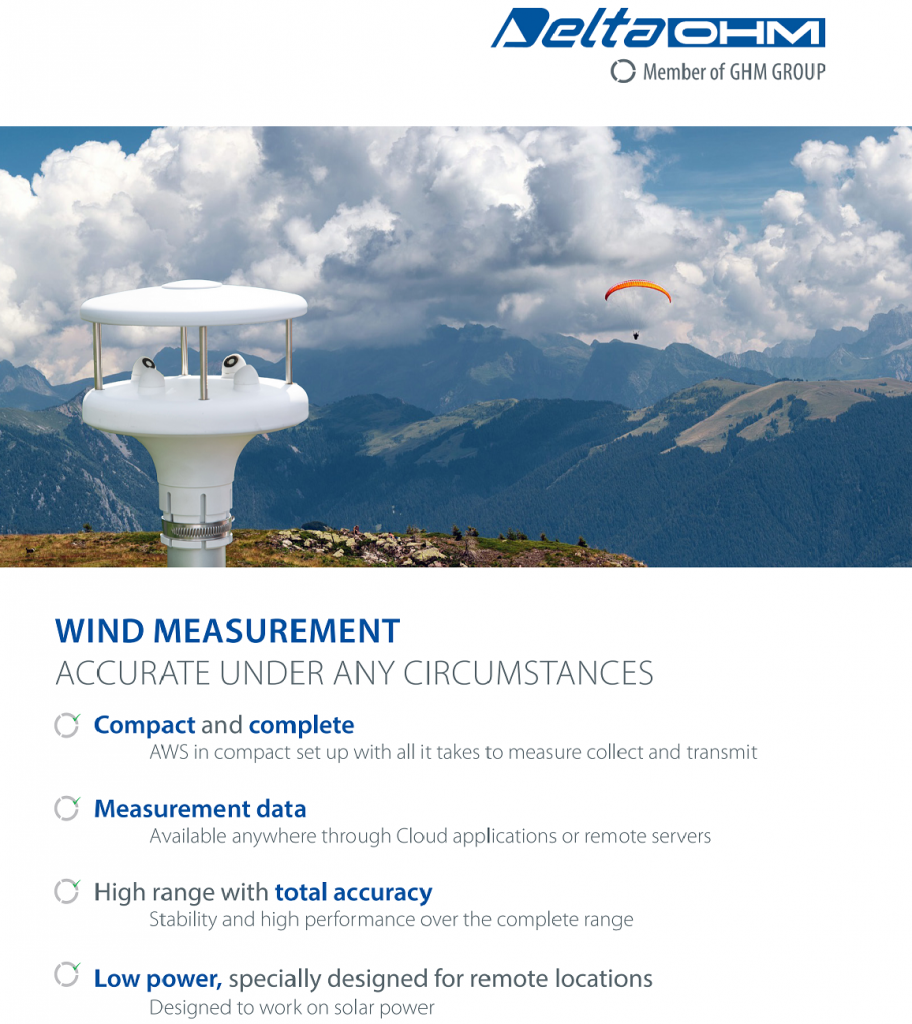 Delta Ohm air speed & wind measurement instruments (anemometers)